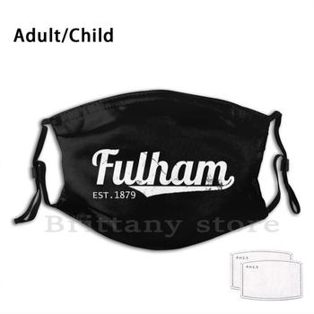 Fulham Retro Euro Leagues Reusable Pm2.5 Filter Face Mask Fulham London Craven Cottage Efl Promotion The Cottagers The Whites image