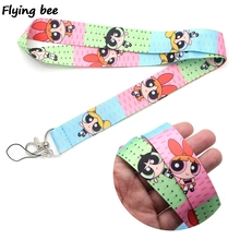 Flyingbee The Powerpuff Girls Lanyard Phone Rope Keychains for Keys ID Card Cartoon Lanyards For Men Women X0377