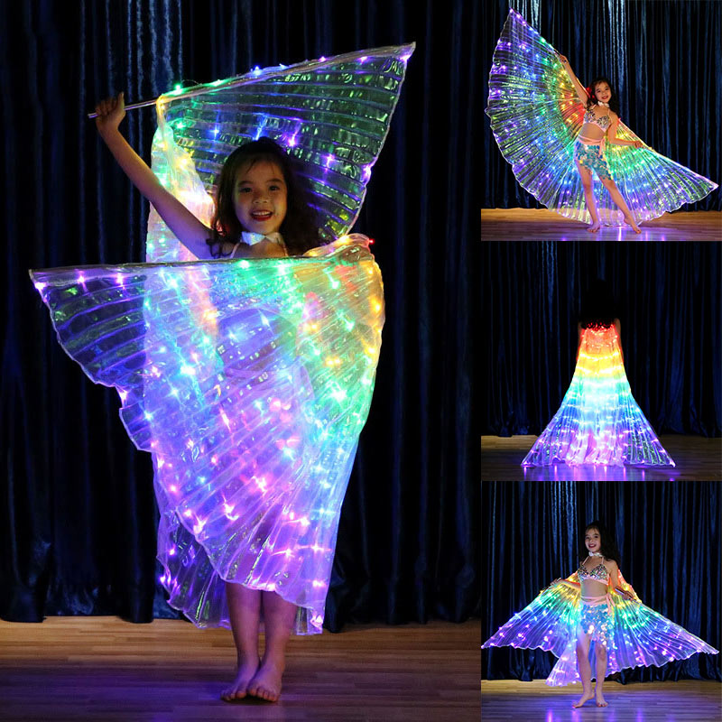 Hot Sale Rainbow Wing LED Butterfly Costume Shawl Fairy Performance Clothing For Children CXZ