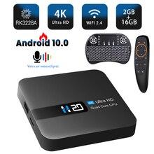 HONGTOP Смарт андроидный телевизионный блок android 10 RK3228A медиаплеера tv box 4k 3D видео голосовой помощник android 10 tv box 2 Гб оперативной памяти, 16 Гб встр...