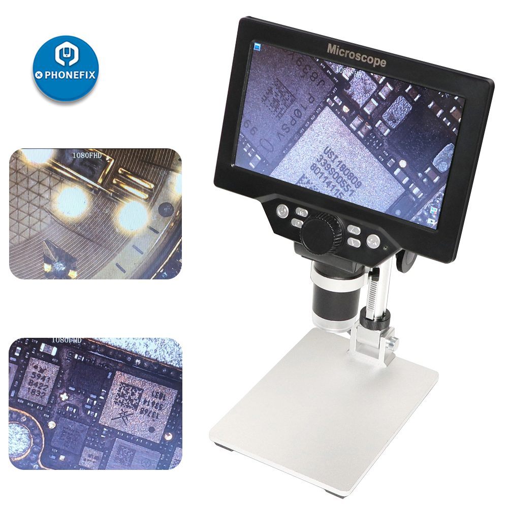 G1200 Electronic Digital Microscope 1200X 12MP 7 Inch HD LCD Microscopes Continuous Amplification Magnifier phone PCB Soldering