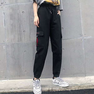 Trousers Women Joggers Pants Street-Wear Cargo Elasticated High-Waist Moto Loose Link-Chain