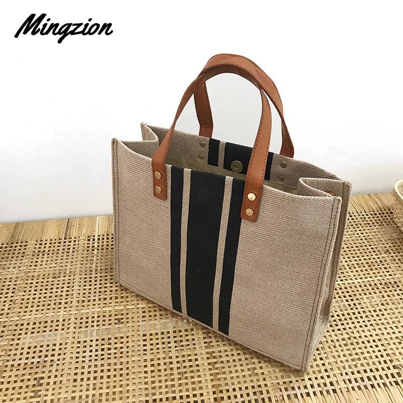 Mingzion High Quality Women Linen Luxury Tote Large Capacity Female Casual Shoulder Bag Lady  Handbag Beach Shopping Bag