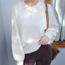 Long Sleeve Autumn Winter Sweater Women White Knitted Sweate