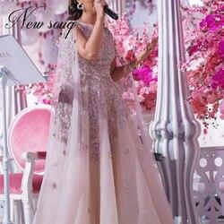 Vestidos, кружевные вечерние платья с бусинами, на заказ, 2020, Robe de Soiree, длинное платье для выпускного вечера, кружевное вечернее платье в стиле Са...