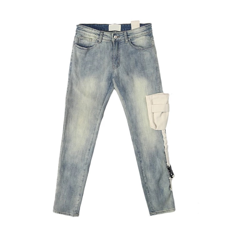 Tactical Pocket Skinny Jeans Distressing Vintage Washed Biker Jeans Streetwear