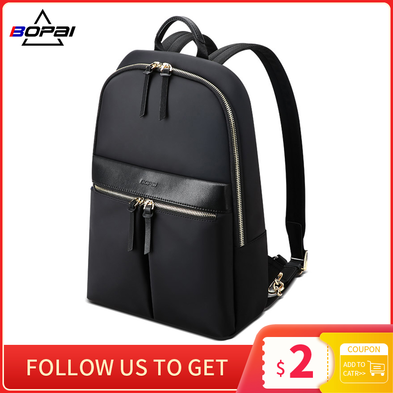 BOPAI New Fashion Women Silm Backpack Waterproof Laptop Purse Travel Large Capacity Business Backpack Thin Ladies Bags