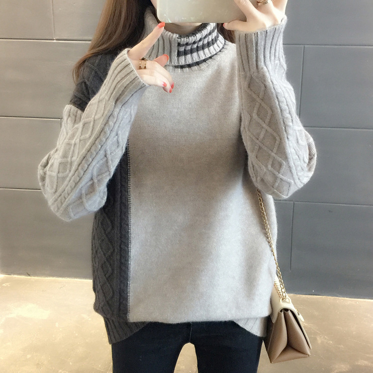 Sweater Women Clothes Black Slim  Gray Pullover Tops Casual Thin Sweaters