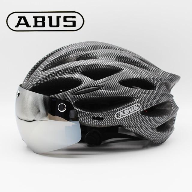 Abus capacete de bicicleta dos homens eps integralmente moldado respirável ciclismo capacete lente aero mtb estrada capacete 2