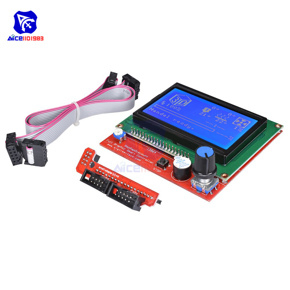 Diymore 12864 LCD Graphic Smart Display Controller Board With Adapter Cable For 3D Printer Ramps 1.4 RepRap Mendel Prusa Arduino