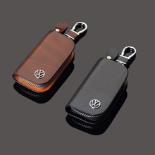 Men's Business Key Case Fashion Car Keychain Volkswagen Key Set Top Layer Leather Hanging Zipper Key Storage
