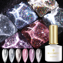 BORN PRETTY 1 Bottle Holo Reflective Cat Magnetic Gel Holographics Effect Glitter Soak Off UV Gel Varnish 6 Colors for Choose