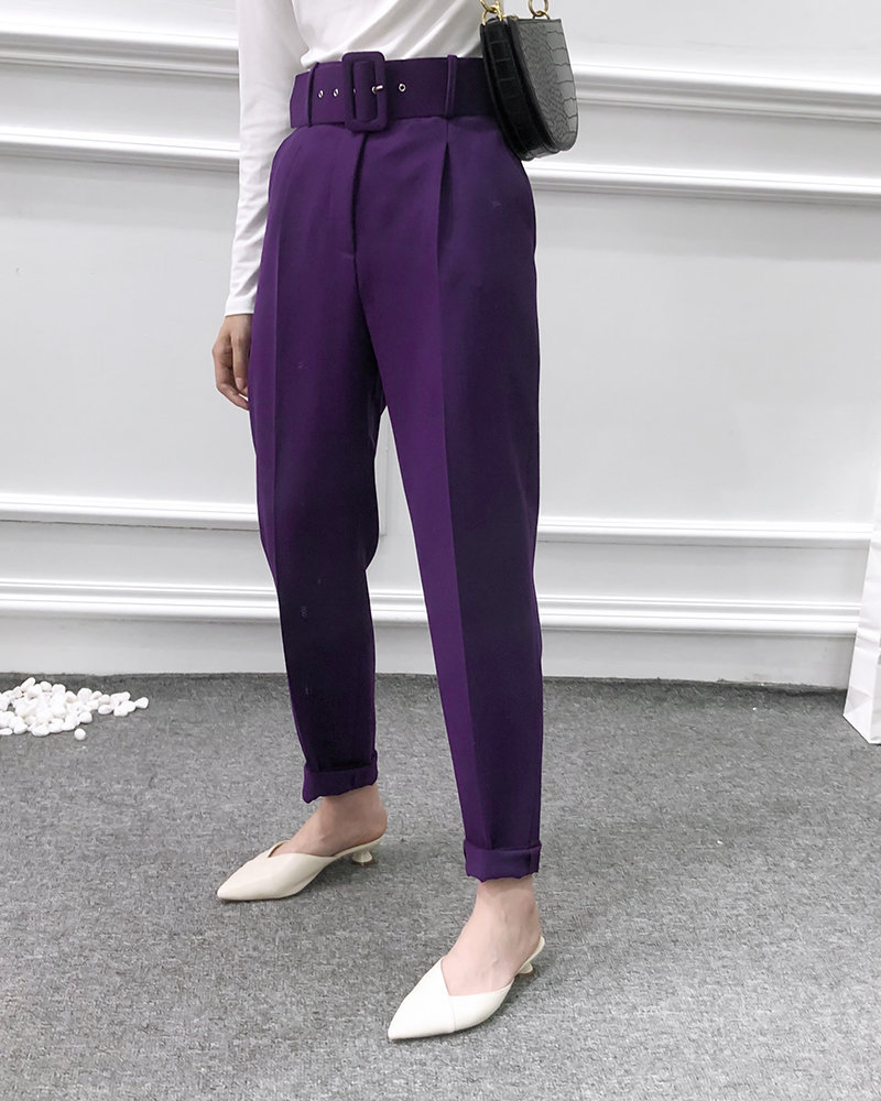 He016ee551ef44575b21efa3152a4d0b42 - Office Lady Black Suit Pants With Belt Women High Waist Solid Long Trousers Fashion Pockets Pantalones FICUSRONG Pencil