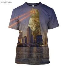2019 New Space Cat 3D Print T-shirt Hero Funny Men and Women Short Sleeve Fashion T-Shirt