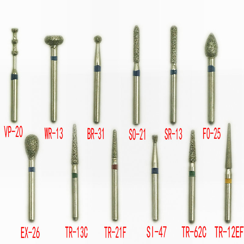 50pcs/bag 1.6mm Dental High Speed Burs High Speed Handpiece Turbine Diamond Burs Diamond Polishing Dental Diamond Burs