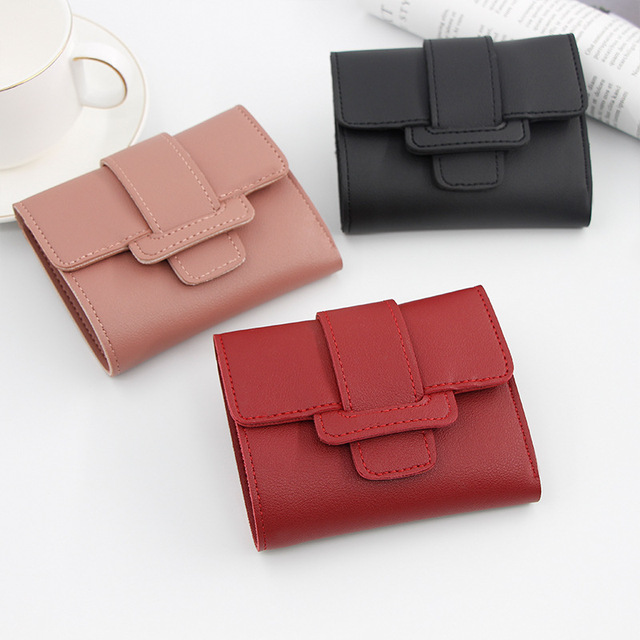 2020 new Korean version of solid color pumping belt ladies wallet female coin purse clutch bag student short wallet wallet
