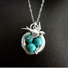 Hello Miss 2019 new swallow homing pendant necklace creative magpie bird nest alloy womens gift