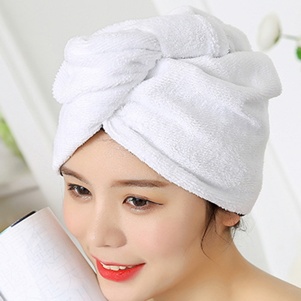 Women Microfiber Hair Towel Wraps Quick Dry Hat Shower Cap For Long Thick Curly Hair