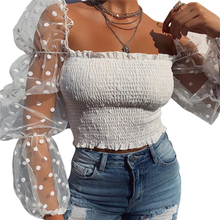 Women Blouses Sexy See-through Puff Sleeve Wrap Chest Tops Shirts Ladie
