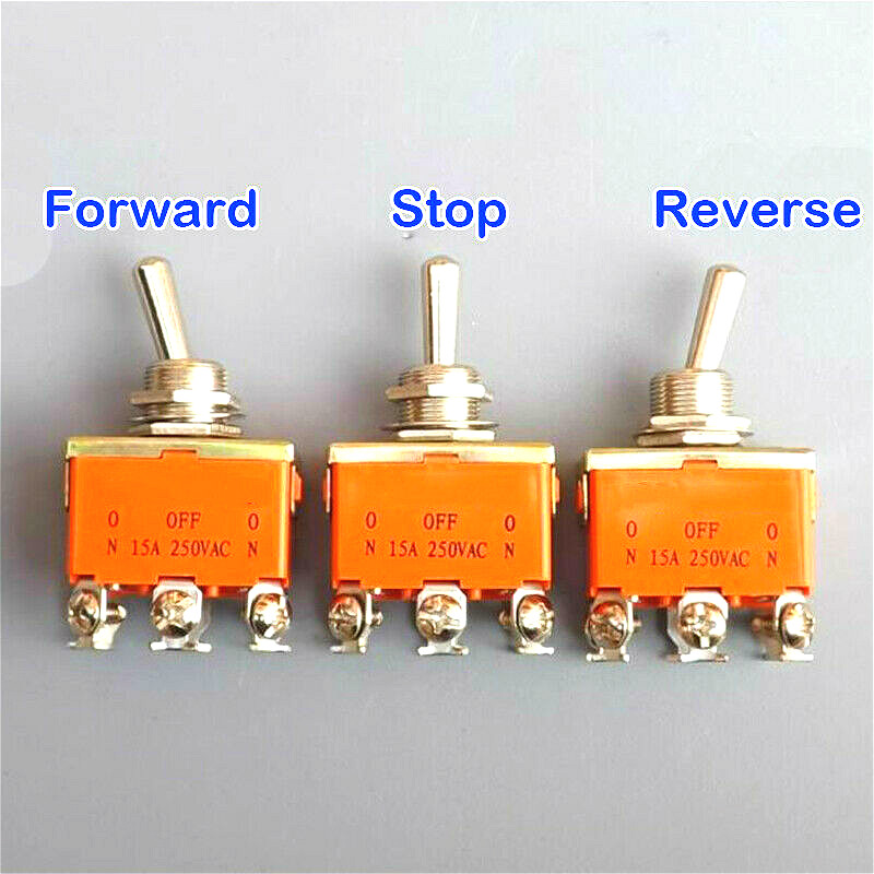 15 Amp 250V 6Pin Toggle DPDT ON-OFF-ON Switch Power Rocker Three Position Throw Polarity Forward Reverse CW CCW DC Motor Control