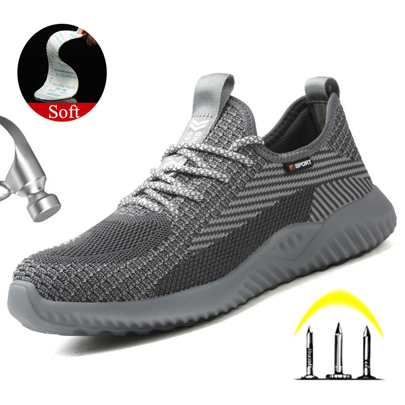 Yuxiang Lightweight Summer Breathable Work Sneakers Safety Shoes With Metal Toe Puncture-Proof Safety Boots Indestructible Shoes