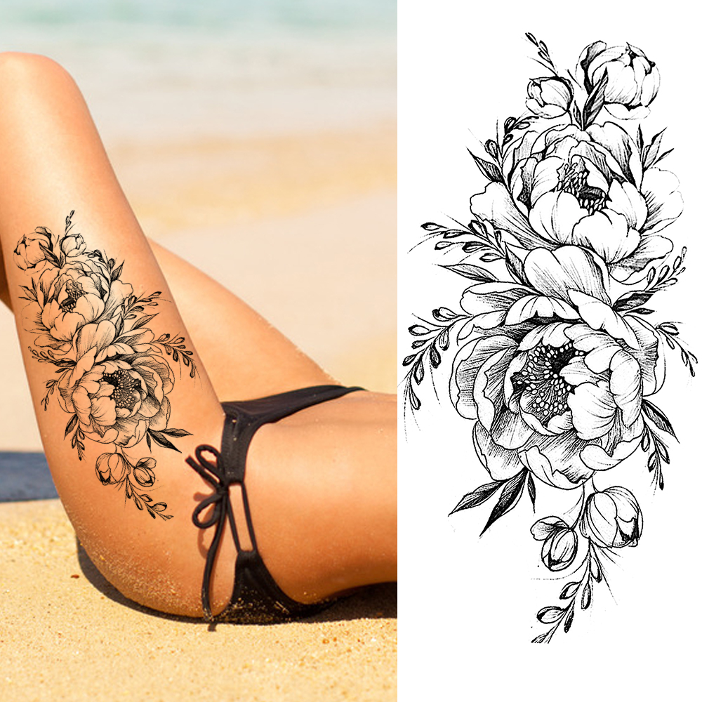 3D Black Flower Temporary Tattoos Sticker Realistic Fake Washable Rose Tattoo Decal For Adult Body Art Legs Arm Creative Tatoos