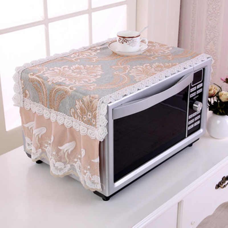 Anti-öl Plaid Staubdicht Ofen Abdeckungen Mikrowelle abdeckung mit lagerung tasche Pastoralen Baumwolle Tuch Aufkleber Für Küche Home Decor