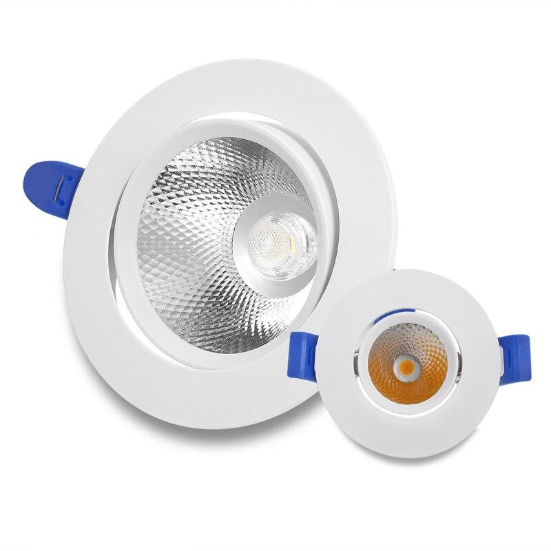 24W LED Downlight Einstellbare Winkel 5W 7W 12W 18W Einbau Decke Lampe AC190 ~ 240V COB Spot Licht Für Wohnkultur