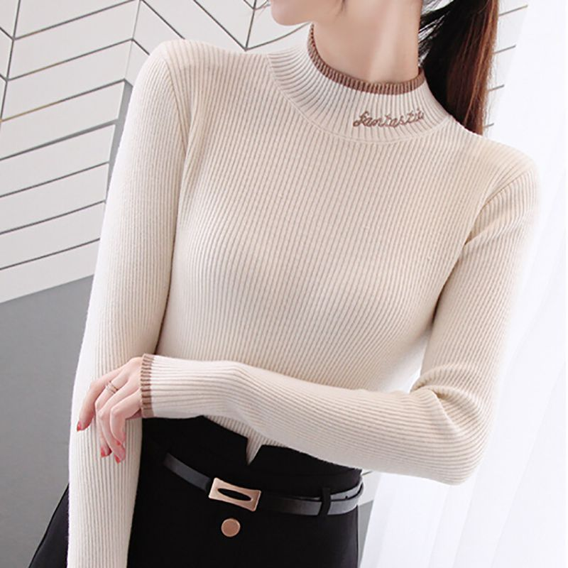 Autumn Women Sweater New Turtleneck Full Sleeve Letter Embroidery Soft Sweater Slim Female temperament Commute Sweaters