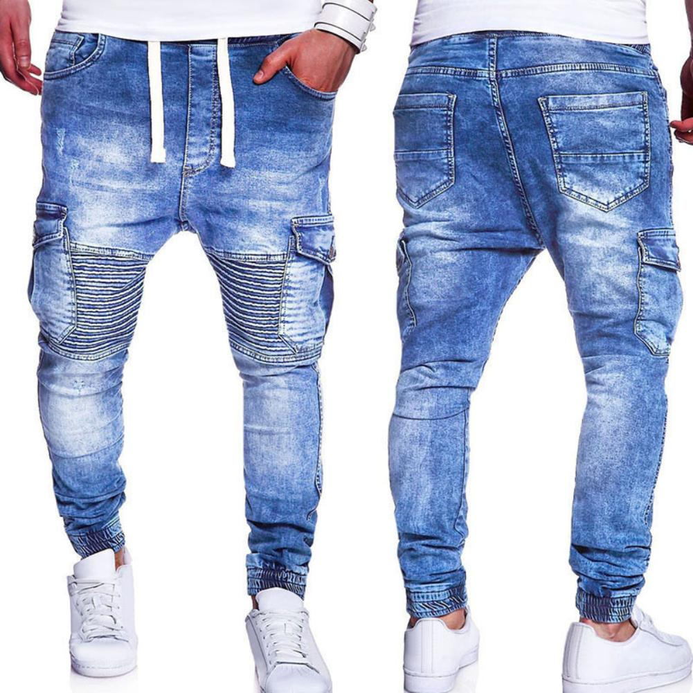 2019 Fashion Multiple Pocket Pleated Knee Slim Men Jeans Drawstring Casual Long Pants Men