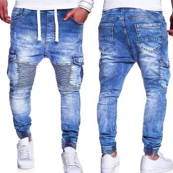 2019 Fashion Multiple Pocket Pleated Knee Slim Men Jeans Drawstring Casual Long Pants Men