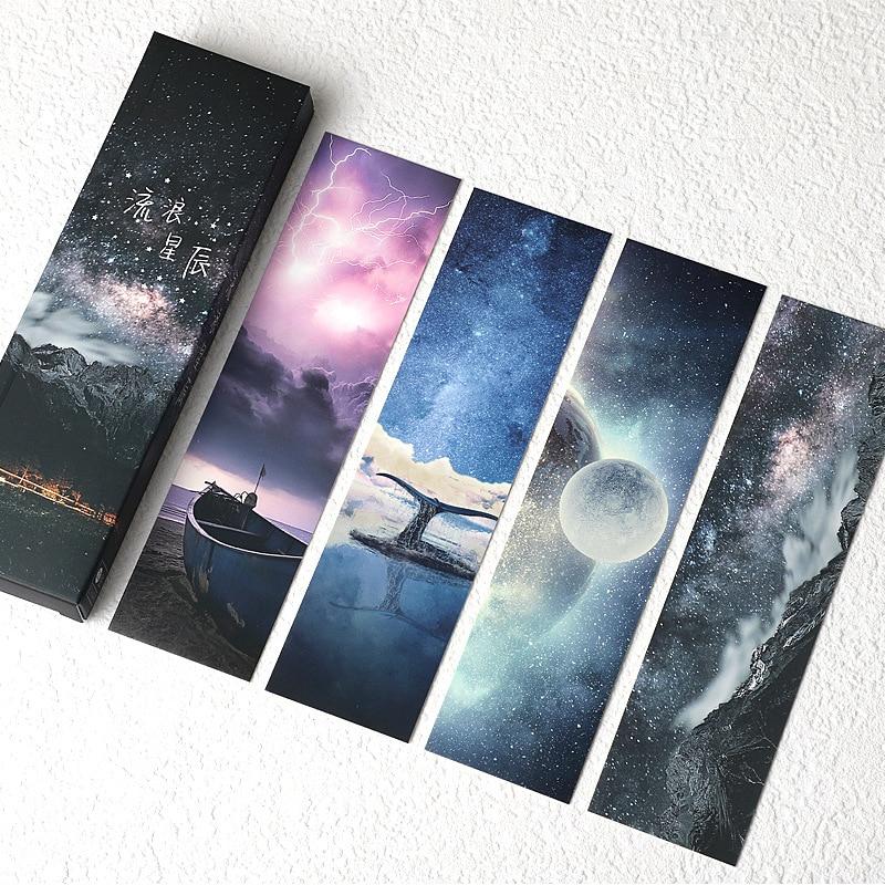 30 шт./компл. звезды серии Бумага Закладка для книги яркое звездное небо, книжные держатели открытка подарочные канцелярские товары