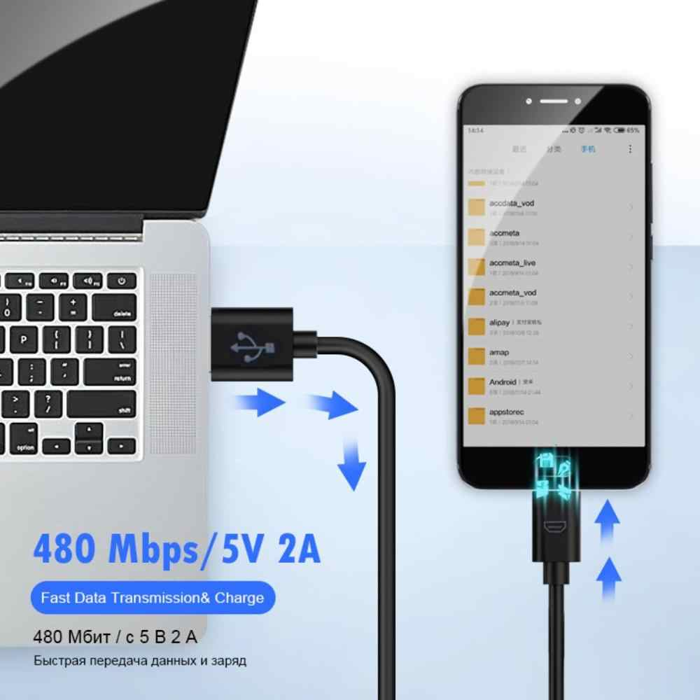 Universal 10 Cm USB 2.0 A Ke MICRO B Kabel Pengisi Daya Sinkronisasi Data Kabel untuk Ponsel PC Laptop Baru Pria untuk Kabel