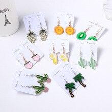 Korean Style Cartoon Fruit Coconut Pineapple Orange Orange Kiwi Cute Drop Earrings for Girl Women Fashion Jewelry Accessories недорого