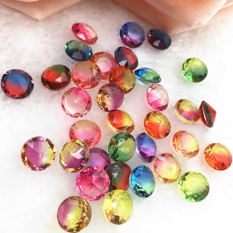 25pcs/bag 8.0mm Round Gradient Color Tourmaline Rhinestones Glass Crystal Stone Nude Crystal Rhinestones  For Nails Art Decorati