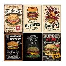 Cartel de Metal de estaño con forma de hamburguesa, placa Vintage, cartel de comida rápida, Bar, Pub, cocina Retro, decoración decorativa para el hogar, 20x30cm