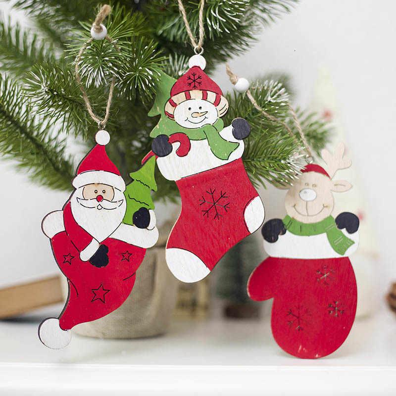 1 Cái Bông Tuyết Hươu Ông Già Noel Cây Giáng Sinh Gỗ Tự Nhiên Treo Trang Trí Quà Giáng Năm Mới Trang Trí Tiệc Cung Cấp 62888