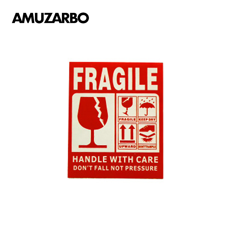 25pcs/pack Fragile Warning Sticker Red Express Label Upward And Handle With Care Keep Dry  For Mail Sending Moving Warehouse