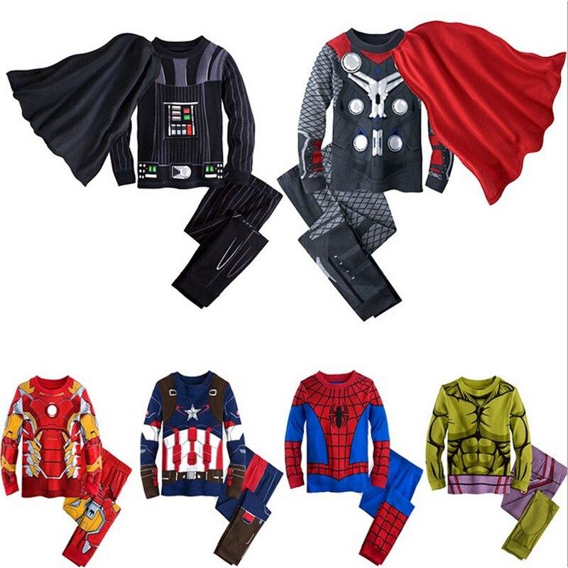 Avenger Children Pajamas Sets Autumn Iron Man Pajamas Captain America Sets Superman Sleepwear Spiderman Batman Outfits
