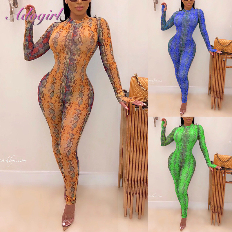 Spring Snake Print Long Sleeve Bodycon Jumpsuit Women Sexy Night Party Club Outfit Jumpsuits Rompers Streetwear Outfit Overalls
