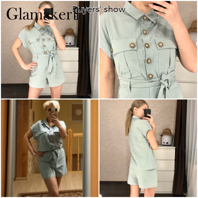 Glamaker Green two piece suit short sleeve shirt and shorts Women loose casual summer playsuit Female 2021 new office lady sets 4
