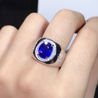 4 Carat natural sapphire men's ring, super atmosphere. 925 pure silver does not change color. Certificate. New products