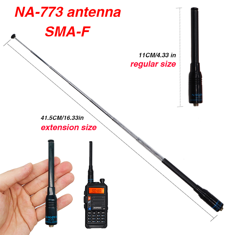 Nagoya NA-773 SMA Female Dual Band VHF UHF Flexible Walkie Talkie Antenna For Kenwood BaoFeng UV-5R UV-82 BF-888S UV-6R UV5R Pro