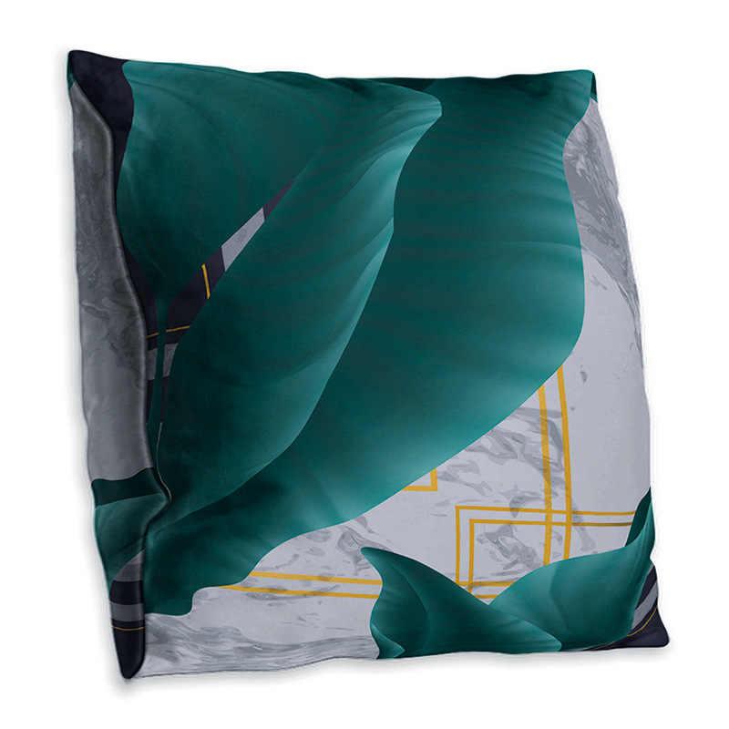Nordic dwustronny poliester liść bananowca poszewka na poduszkę z nadrukiem geometryczny zielony Sofa studium poszewka dekoracyjna na poduszkę 45x45cm