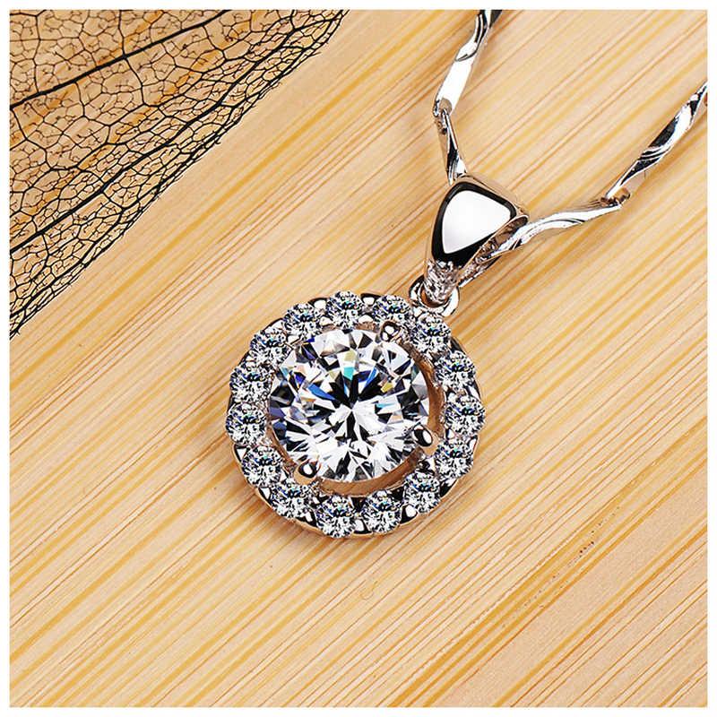 YANHUI 100% oryginalny solidna 925 srebrny naszyjnik wisiorek biżuteria dla kobiet pełne okrągłe diamenciki wisiorek luksusowe srebro 925 naszyjnik