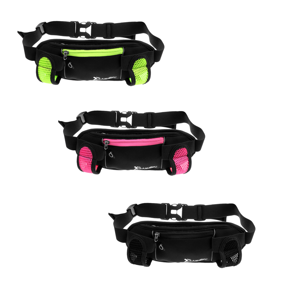 Waist Bum Bag Running Belt Pouch With 2 Pieces Water Bottle Holders Hydration Running Belt For Outdoor Sports