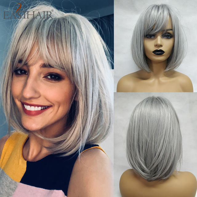 EASIHAIR Grey Straight Bob Synthetic Wigs with Bangs for Women Medium Length Hair Bob Wig Wavy Heat Resistant Cosplay Wigs