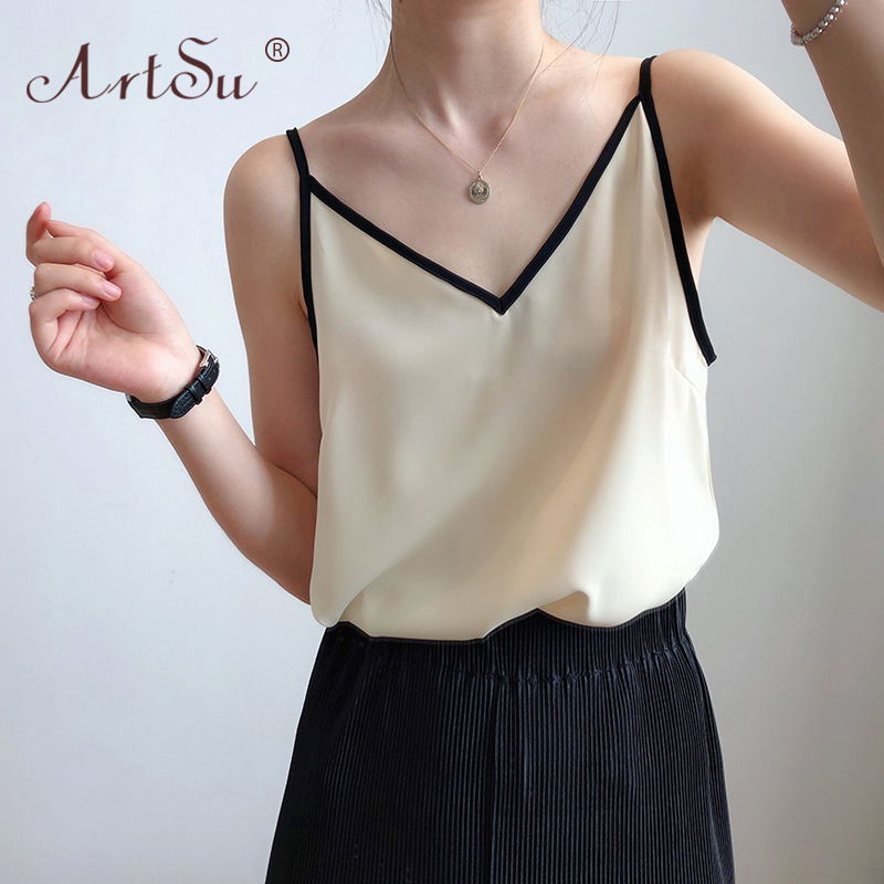 ArtSu Color Block V Neck Fashion Korean Style Cami Bustier Summer Tops Chiffon Shirt Women Sexy Black Tank Tops Camisole Casual 1