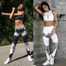 Kadınlar hızlı kuru spor spor Leggins geometrik baskılı spor pantolon Yoga pantolon tayt ince tayt pantolon kadınlar için S-XXXL