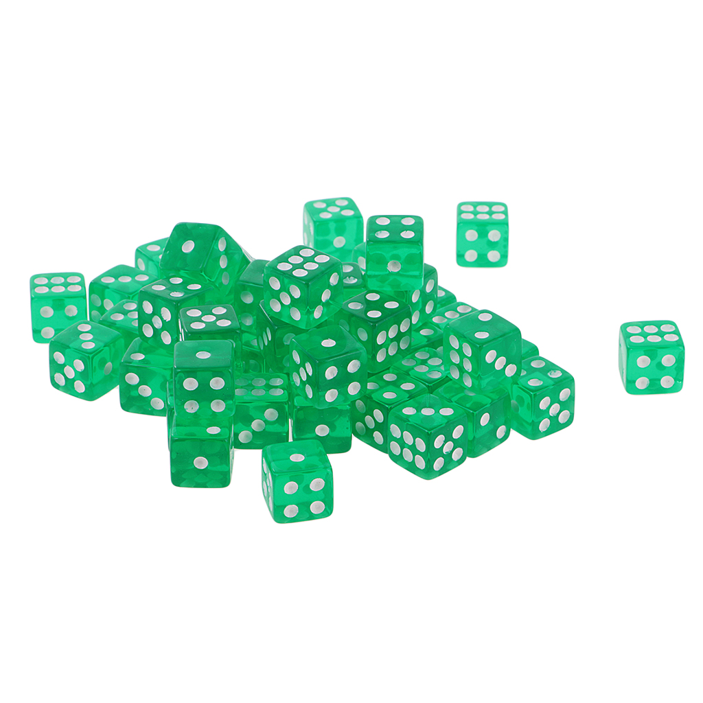 50PCS <font><b>D6</b></font> Polyhedral <font><b>Dice</b></font> 6 Sided <font><b>Dice</b></font> 12mm For Board Games, Activity <font><b>Green</b></font> image